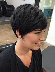 cheap -Human Hair Wig Short Straight Natural Straight Bob Pixie Cut Layered Haircut Asymmetrical Black Life Cool Comfortable Capless Women's All Natural Black 8 inch / Natural Hairline / Natural Hairline
