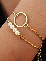 cheap -2pcs Women's Vintage Bracelet Earrings / Bracelet Layered Lucky Vintage Fashion Cute Boho Elegant Imitation Pearl Bracelet Jewelry Gold For Daily
