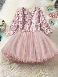 cheap -Kids Girls' Solid Colored Knee-length Dress Blushing Pink