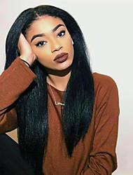 cheap -Human Hair Lace Front Wig Side Part style Brazilian Hair Yaki Straight Black Wig 130% 150% Density Women Women's Long Human Hair Lace Wig Clytie