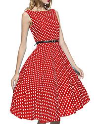 abordables -Audrey Hepburn Points Polka Rétro Vintage Années 50 Robe Femme Costume Vert / Rouge / Café Vintage Cosplay Retour Sans Manches Mi-long