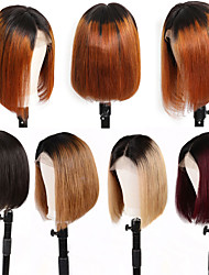 cheap -Remy Human Hair 13x6 Closure Wig Bob Short Bob Middle Part style Brazilian Hair Straight Wig 150% Density Women Best Quality New New Arrival Hot Sale Women's Short Human Hair Lace Wig Human Hair