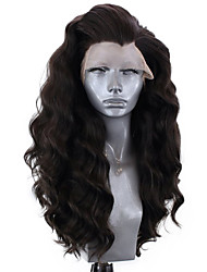 cheap -Synthetic Lace Front Wig Wavy Body Wave Free Part Lace Front Wig Long Natural Black Synthetic Hair 8-12 inch Women's Soft Elastic Women Black / Glueless