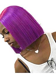 Недорогие -Синтетические кружевные передние парики Прямой Средняя часть Лента спереди Парик Короткие Фиолетовый Искусственные волосы 8-10 дюймовый Жен. Регулируется Жаропрочная Для вечеринок Фиолетовый