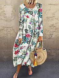 Недорогие -Жен. Классический Прямое Платье - Цветочный принт, С принтом Средней длины
