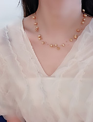 cheap -Women's Freshwater Pearl Beaded Necklace Necklace Dragonfly Pearl Gold Plated Gold 46 cm Necklace Jewelry 1pc For Christmas Gift Holiday Promise Festival / Pearl Necklace / Bead Necklace