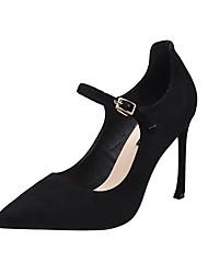 cheap -Women's Heels Stiletto Heel Pointed Toe Buckle PU(Polyurethane) Sweet / Minimalism Spring &  Fall Black / Almond