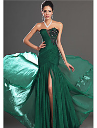 cheap -Mermaid / Trumpet Strapless Court Train Chiffon Sexy / Green Engagement / Formal Evening Dress with Appliques 2020