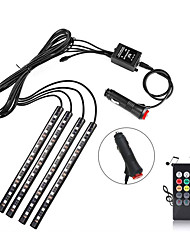 cheap -BRELONG Car LED Strip 48 LED 10mm Multicolor Car Interior Light Underline Light Waterproof Kit With Sound Active Function And Wireless Remote Control Car Charger