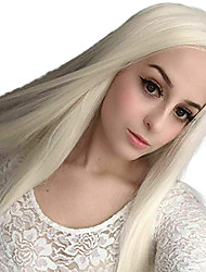 cheap -Synthetic Lace Front Wig Straight Side Part Lace Front Wig Blonde Long Platinum Blonde Synthetic Hair 18-26 inch Women's Adjustable Heat Resistant Party Blonde