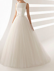 cheap -Ball Gown Wedding Dresses Bateau Neck Sweep / Brush Train Satin Tulle Regular Straps Simple Backless with Bow(s) 2021