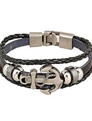 cheap -Men's Leather Bracelet woven Anchor Stylish Vintage Punk Genuine Leather Bracelet Jewelry Black For Gift Street Festival