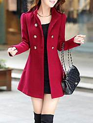 cheap -Women's Stand Collar Coat Long Solid Colored Daily Basic Blue Red Wine Army Green S M L XL