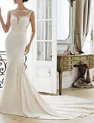 cheap -Mermaid / Trumpet Jewel Neck Sweep / Brush Train Lace / Stretch Satin Regular Straps Made-To-Measure Wedding Dresses with Beading / Appliques 2020