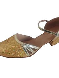 cheap -Women's Modern Shoes / Ballroom Shoes PU Ankle Strap Heel Sparkling Glitter Thick Heel Customizable Dance Shoes Gold