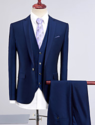 cheap -Royal Blue Solid Colored Standard Fit Polyester Suit - Notch Single Breasted One-button
