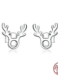 cheap -Women's Stud Earrings Classic Elk Stylish Simple European Trendy Korean S925 Sterling Silver Earrings Jewelry Silver For Christmas Gift Daily Work Festival 1 Pair