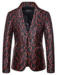 cheap -Men's Blazer, Geometric Shirt Collar Cotton / Polyester Black / Purple / Silver