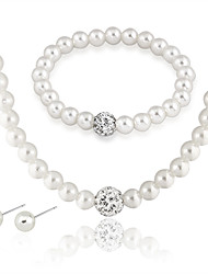 cheap -Women's Stud Earrings Chain Necklace Bead Bracelet Classic Stylish Unique Design Imitation Pearl Silver Plated Earrings Jewelry White For Party Daily 1 set