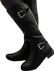 cheap -Women's Boots Knee High Boots Flat Heel Round Toe Microfiber Knee High Boots Fall & Winter Black / Brown / Khaki