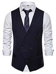 cheap -Men's Vest, Solid Colored V Neck Rayon / Polyester Black / White / Navy Blue
