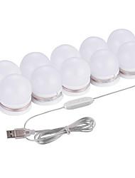 Недорогие -1 компл. Светодиодное зеркало тщеславия фары комплект с 10 затемняемыми лампочками для макияжа туалетный столик USB база dc5v зеркало для макияжа светодиодные лампы в гардеробной