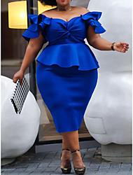 abordables -Femme Chic de Rue Elégant Mi-long Trapèze Moulante Gaine Robe - Noeud A Volants Mosaïque, Couleur Pleine Bleu Bleu XXL XXXL XXXXL Manches Courtes