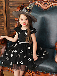 cheap -Kids Toddler Girls' Active Sweet Solid Colored Halloween Beaded Mesh Short Sleeve Above Knee Dress Black