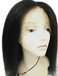 cheap -Remy Human Hair Full Lace Wig Middle Part style Brazilian Hair kinky Straight Black Wig 130% Density Women's Short Human Hair Lace Wig beikashang
