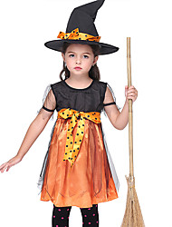 cheap -Witch Outfits Kid's Girls' Halloween Halloween Festival / Holiday Spandex Polyester / Polyamide Black Carnival Costumes