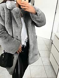 cheap -Women's Daily Basic Regular Faux Fur Coat, Solid Colored Turndown Long Sleeve Faux Fur Blushing Pink / Camel / Light gray
