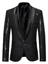 cheap -Men's Blazer Shawl Lapel Cotton Black / Silver / Red