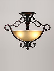 cheap -3-Light Ceiling Light Flush Mount Antique Glass Lights Downlight Painted Finishes Ceiling Light Fixtures for Living Room Dining Room