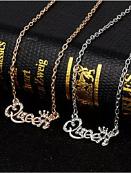 cheap -Women's Silver Gold Diamond Chain Necklace Link / Chain Alphabet Shape Simple Elegant Fashion Rhinestone Earrings Jewelry Silver / Gold For Daily 1pc