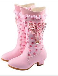 cheap -Girls' Comfort Microfiber Boots Little Kids(4-7ys) Beading Purple / Pink Winter / Mid-Calf Boots