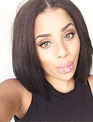 cheap -Remy Human Hair Lace Front Wig Bob style Brazilian Hair Yaki Straight Black Wig 130% Density Women's Short Human Hair Lace Wig beikashang