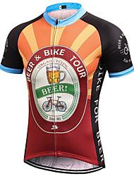 abordables -21Grams Homme Manches Courtes Maillot Velo Cyclisme Noir / Orange. Rétro Nouveauté Bière Oktoberfest Cyclisme Maillot Hauts / Top VTT Vélo tout terrain Vélo Route Respirable Evacuation de l'humidit