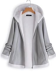 abordables -Femme Quotidien Hiver Normal Veste, Couleur Pleine Capuche Manches Longues Polyester Gris / Vin / Kaki