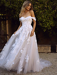 cheap -A-Line Wedding Dresses Sweetheart Neckline Court Train Lace Tulle Cap Sleeve Glamorous Backless with Appliques 2020