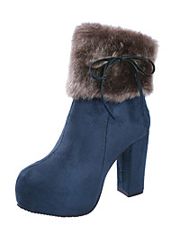 cheap -Women's Boots Chunky Heel Round Toe Faux Fur / PU Spring / Fall & Winter Black / Camel / Blue / Party & Evening