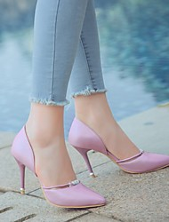cheap -Women's Heels Stiletto Heel Pointed Toe Rhinestone / Sparkling Glitter / Buckle Faux Leather Casual / Minimalism Walking Shoes Spring &  Fall / Spring & Summer Light Blue / Gold / Silver / Daily