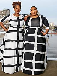 cheap -Women's Street chic Elegant A Line Maxi Sheath Swing Dress - Color Block Plaid Check Black & White Black & Gray Black, Lace up Print Black White XL