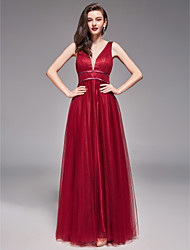 cheap -A-Line V Neck Floor Length Tulle Bridesmaid Dress with Pleats by LAN TING BRIDE®