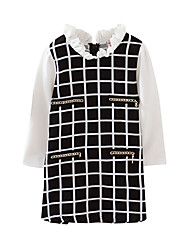 cheap -Kids Toddler Girls' Basic Cute Black & White Solid Colored Plaid Patchwork Long Sleeve Above Knee Dress Black