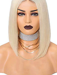 cheap -Synthetic Lace Front Wig Straight Bob Short Bob Lace Front Wig Blonde Short Light Blonde Synthetic Hair 8-12 inch Women's Soft Elastic Women Blonde / Glueless