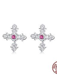 cheap -Vintage Pattern Cross Stud Earrings for Women Authentic Sterling Silver 925 European Retro Statement Jewelry BSE17123