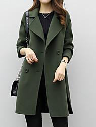 abordables -Femme Quotidien Basique Longue Manteau, Couleur Pleine Col rabattu Manches Longues Polyester Noir / Vert / Kaki
