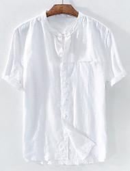 Недорогие -Муж. Однотонный Пэчворк Рубашка - Лён Классический Шинуазери (китайский стиль) Воротник-стойка Белый / Черный / Синий / Серый