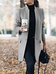Недорогие -Жен. Повседневные Классический Длинная Пальто, Однотонный Лацкан с тупым углом Длинный рукав Полиэстер Черный / Винный / Серый