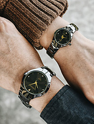 cheap -Couple's Steel Band Watches Quartz Modern Style Stylish Black / Silver 30 m Chronograph Creative New Design Analog Sparkle Casual - Black Silver Two Years Battery Life